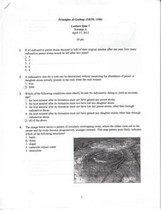 GEOL 1100 lecture quiz 7 version A 2012