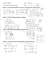5 2 5 6 Review Quadratic Equations Honorsalgebraii Name 5 25