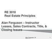 Leases Sales Contracts Title and Closing RE 3010