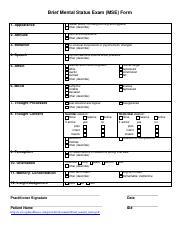 Brief Mental Status Exam Docx Brief Mental Status Exam Mse Form 1