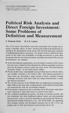 Political risk analysis and direct foreign investment- some problems of definition and measurement