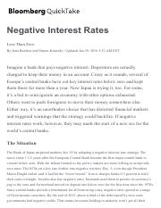Negative Interest Rates - by Bloomberg QuickTake