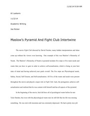 fight club essay draft am aj laskaris academic writing joe  6 pages fight club essay final