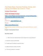 Test Bank Basic Nursing Thinking, Doing, and Caring 2nd Edition by Leslie S. Treas.docx
