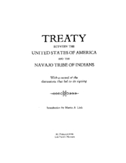 1868 Treaty with the Navajo - US Government