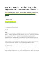 ENT 435 Module 2 Assignment 1 The Importance of Innovation Architecture.docx
