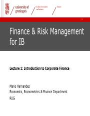 Lecture 1 Finance and Risk Management