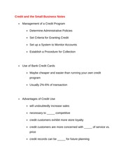 Credit and the Small Business Notes