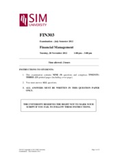 FIN 303 Financial Management Exam Paper 2012 July Semester