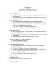 CH 6 Notes: Somatofoam Disorders