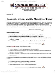 H102 Lecture 13_ Roosevelt, Wilson, and the Morality of Power