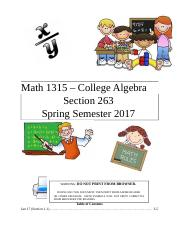 Math 1315 Class Notes (1-25)