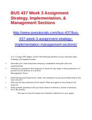 BUS 437 Week 3 Assignment Strategy, Implementation, & Management Sections.docx