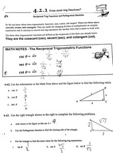 Trigonometric Identities Worksheet- Secondary Identities