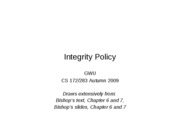 CS283 - Lecture 5 - Part 3 - Integrity Policy