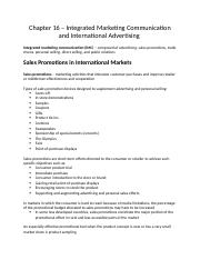 Chapter 16 – Integrated Marketing Communication and International Advertising
