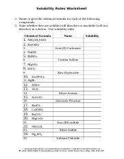 solubility rules worksheet answers - Solubility Rules ...