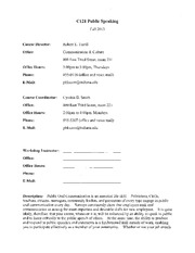 C121 - Public Speaking Syllabus _ Policy Sheet Addendum - Fall 2013