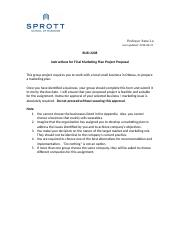 Proposal guideline for Final marketing plan project