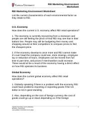 rei marketing environment worksheet The rei marketing environment worksheet to develop your analysis submit your worksheet to the assignment arearei marketing environment worksheet list the current characteristics of each environmental factor as they relate to rei us economy how does the.