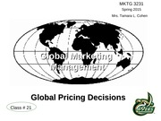 Gloabl Pricing Decisions