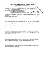CALCULATING FORCE WORKSHEET.doc - Name Period Date ...