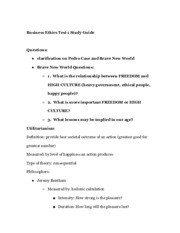 Business Ethics Exam 1 Study Guide