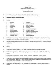 02 1406  Lecture Objectives Biological Moleciules Revised Summr 2013