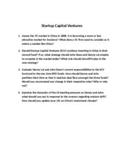 4 StartUp Capital Ventures - Questions