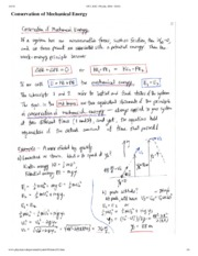 Conservation of Mechanical Energy Notes