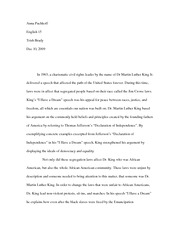"""I Have a Dream"" speech paper"