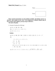 Exam A Solutions on Calculus