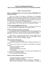 Law on Status of Member of Parliament