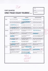 English Reading Assignment paragraphs and study guide rubric