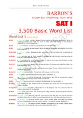 Vocab word list