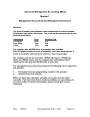 Advanced Management Accounting Solutions - Module1