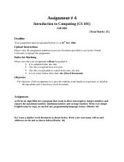 Introduction to Computing - CS101 Fall 2006 Assignment 04.doc