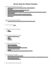 (Part W)Review Sheet for Phylum Chordata.docx