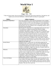 World War I Term Sheet
