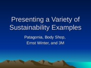Presenting a Variety of Sustainability Examples.ppt