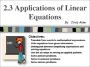 2.3 Applications of Linear Equations
