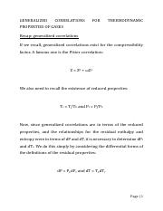 Generalized correlations for thermodynamic properties of gases