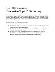 Unit 10 Discussion Topic 2 - Reflecting.docx