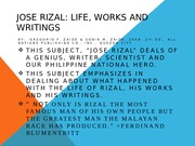 Jose Rizal.His Works and Writings
