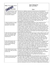 W HIST Cornell Notes- World War I