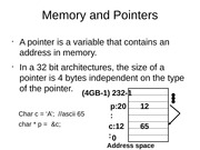 Memory and Pointers