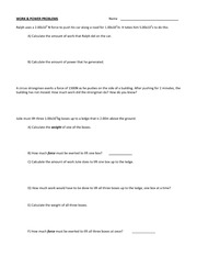Work and Power Problems Worksheet
