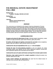 FIN3555 F14 Real Estate Investment Syllabus v1(1)