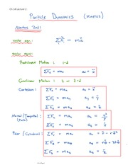 Particle Dynamics equations+solutions