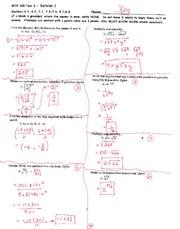 Test 3 Key on Precalculus